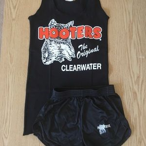 New Hooters Girl uniform blck tank & shorts XS/XXS